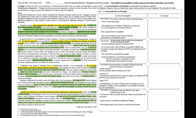 Exercice type bac: Métropolisation, transposer un texte en schéma