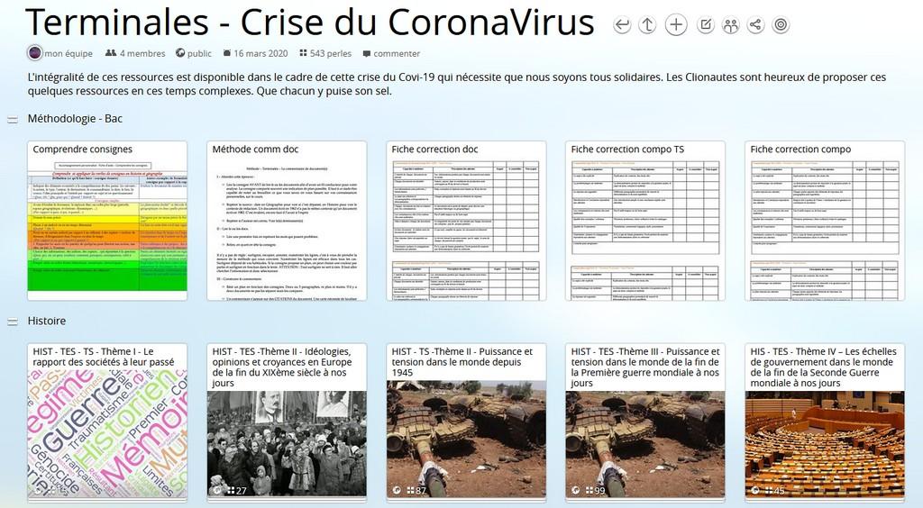 Résilience et partage au temps du CoronaVirus – Continuité pédagogique en Terminale