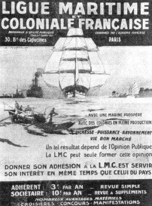 Une réclame pour la Ligue maritime et coloniale, L'encyclopédie coloniale et maritime, mai 1936