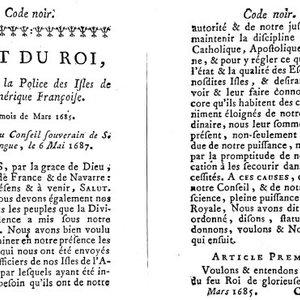 1ère page du Code noir de 1685 enregistré à Saint-Domingue en 1687